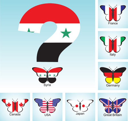 Butterflies with flags of countries. Group of Seven and Syria with question