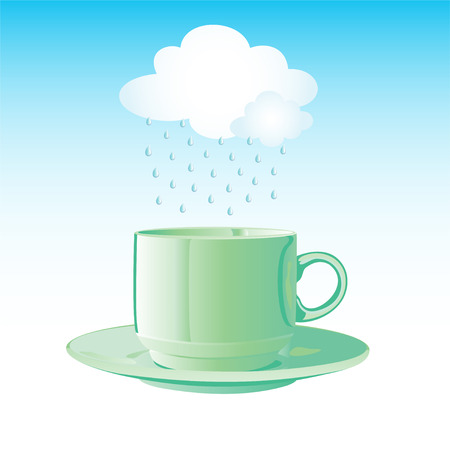 Realistic green cup with saucer and cloud with rain