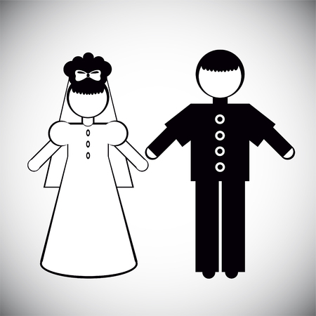 wedding dress: Silhouettes of People. Father and the bride