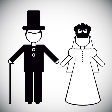 Silhouettes of People. Father and the bride