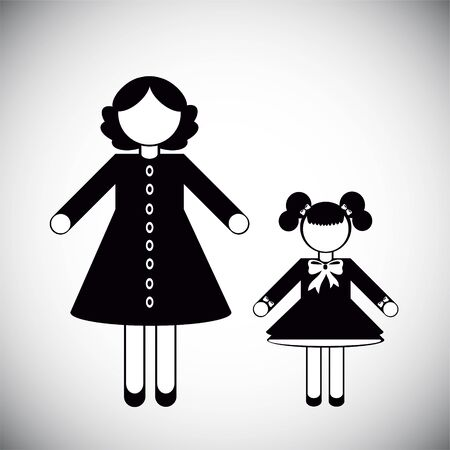 Silhouettes of People. Mother and daughter Illustration