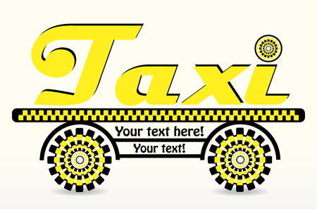 black and yellow business card with taxi