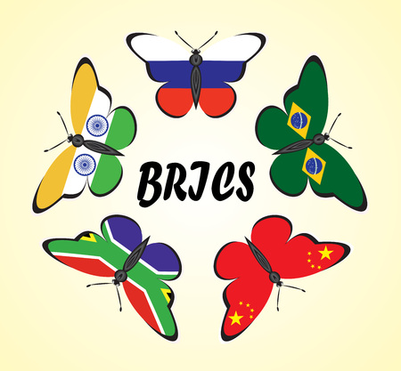 Butterflies with flags of the countries BRIC Illustration
