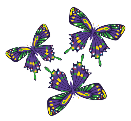 antennae: Set of colorful art butterflies on white background