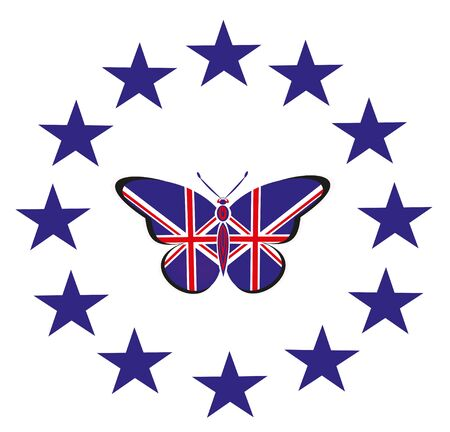 Butterfly with the flag of Great Britain