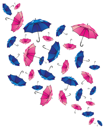 Set of umbrellas. Colorful background