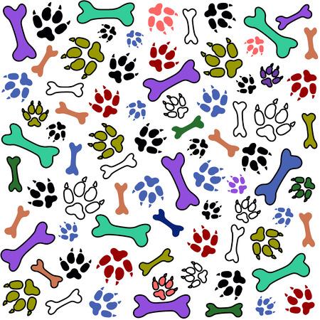Pet paw print and bone background