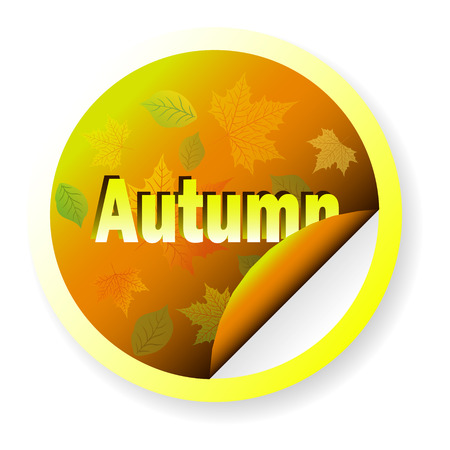 school years: Banner Autumn in the shape of a circle, isolated on white, with fall leaves. The template to different apply