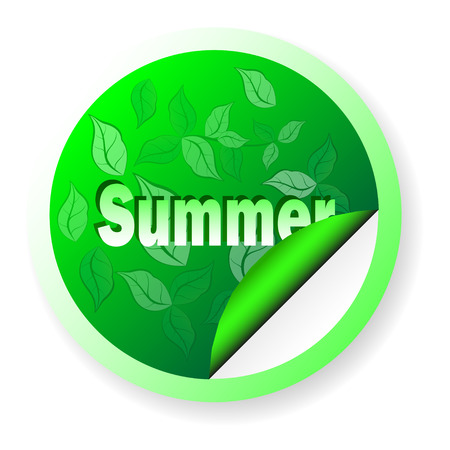 Banner Summer in the shape of a circle, isolated on white, with floral green leaves. The template to apply
