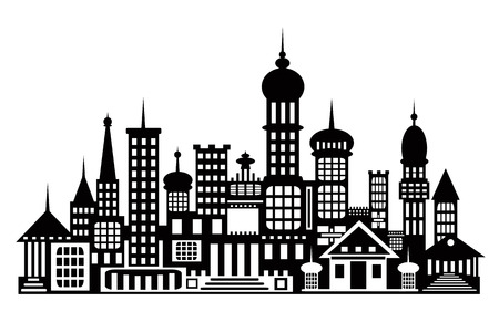 The silhouette of the city. Temples, buildings isolated on white b Illustration