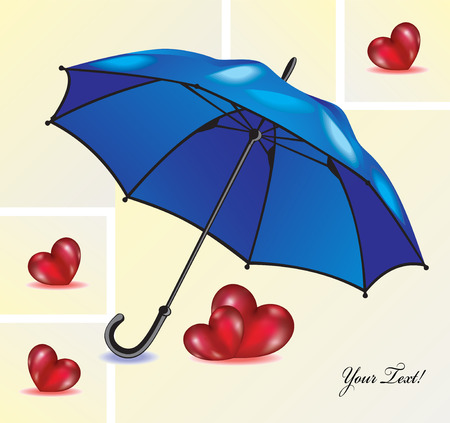 Abstract background with blue umbrella and red hearts. Card for Valentines day