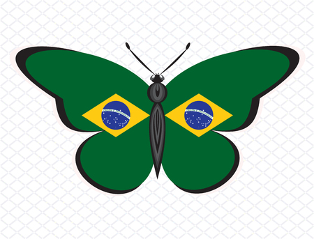 Butterfly painted in the colors of BRAZIL flag