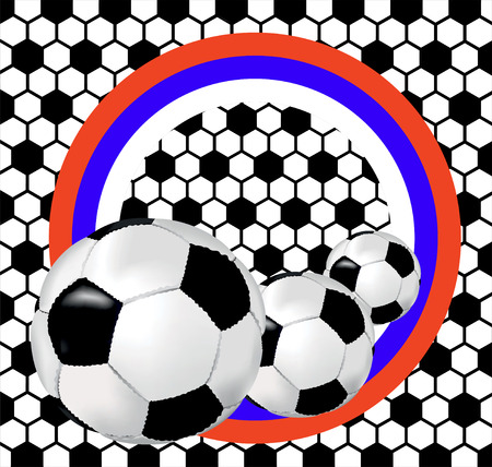 playoff: Background with classic black and white soccer ball and flag of Russia Illustration