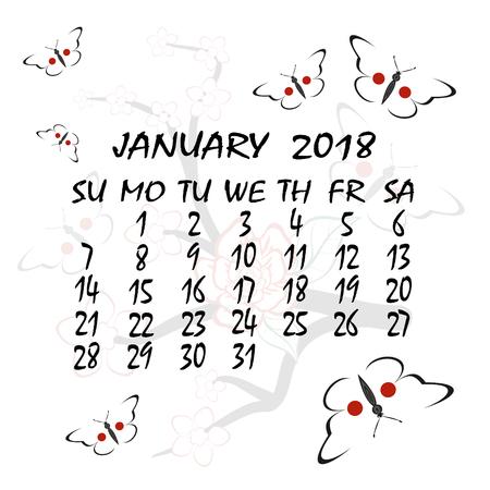 weekly: Calendar for 2018 design.