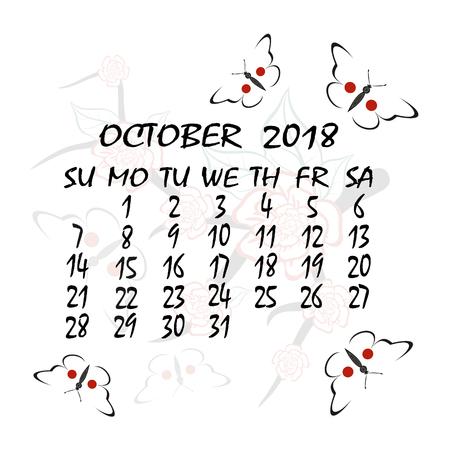 weekly: Calendar for 2018 October. Illustration