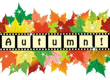 Background with maple autumn colorful leaves Illustration