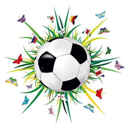 Soccer ball on grass and flags of different countries.
