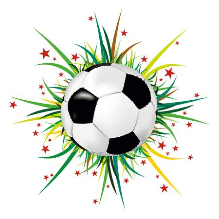 Soccer ball on grass and colorful stars.
