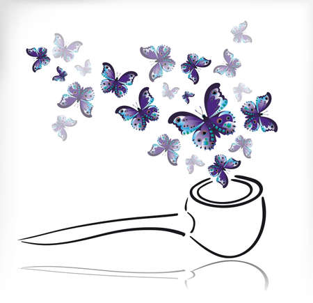 Blue butterflies instead of smoke fly out of the Smoking pipe.