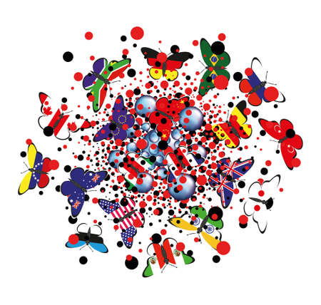 Butterflies with flags of countries surrounded by virus molecules.