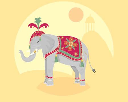 hinduismo: una ilustración de un elefante indio ceremonial con adornos de pie delante de un paisaje asiático Vectores