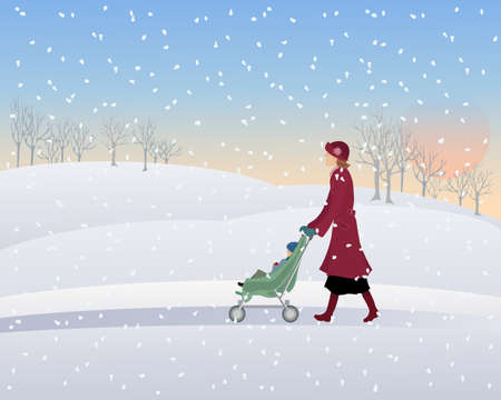 an illustration of a woman with a pushchair walking through a snowy winter park in the evening under a setting sun Stock Vector - 12100873