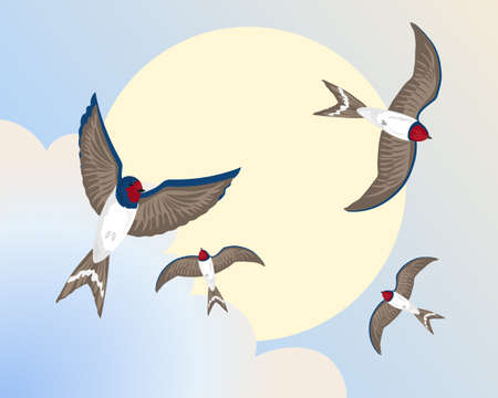 migrating birds: an illustration of swallows in flight around a big yellow sun