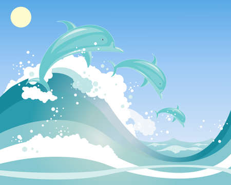 an illustration of a three beautiful dolphins playing in blue frothy waves under a blue sky Çizim