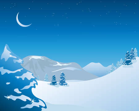 an illustration of a night time snowy winter landscape with fir trees mountains and hills under a starry sky Stock Vector - 12100872