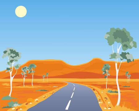 australian outback: una ilustraci�n de un paisaje interior australiano con la goma quemada carretera los �rboles y las colinas ocres bajo un cielo azul