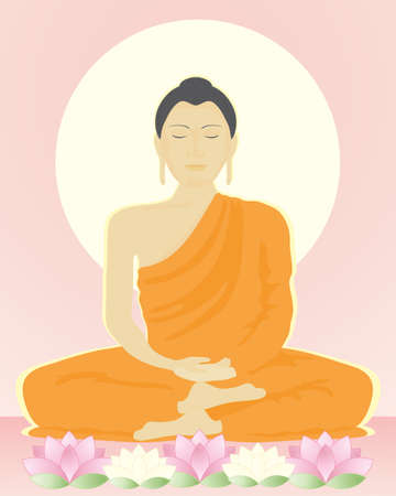 an illustration of an image of the buddha in meditation sitting with lotus flowers under a bright yellow sun Vector