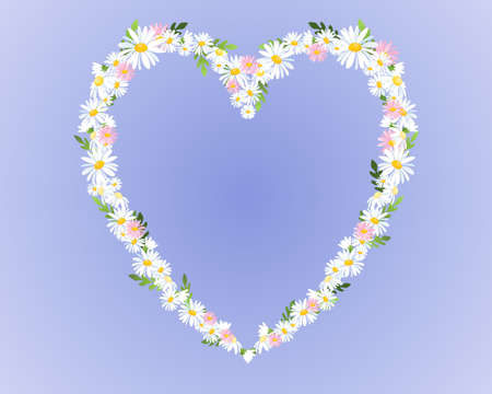 an illustration of white and pink daisies in a heart shape on a blue background Vector
