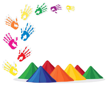 an illustration of hand prints and powder in bright colors for the festival of holi in india Vector