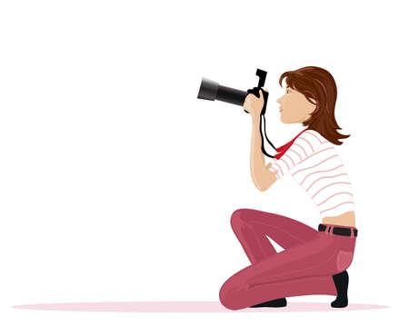 an illustration of a female photographer dressed in pink jeans with striped top ready to take photographs on a white background