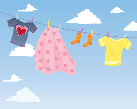 clothes hanging: an illustration of colorful clothes hanging on a washing line with blue sky and white fluffy clouds