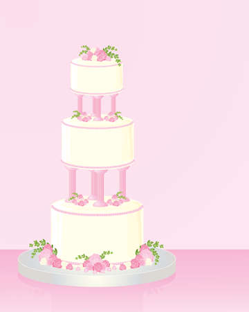 tier: an illustration of a decorative three tier wedding cake with roses and ivy on a pink background