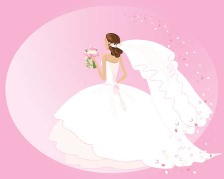 an illustration of a woman in a beautiful wedding dress with a bouquet of roses veil and confetti on a pink background Vector