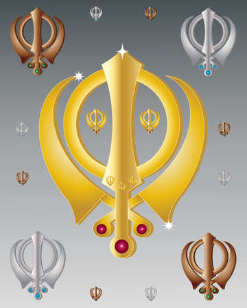 sikhism: an illustration of the symbol of the sikh faith in metallic colors on a gray background