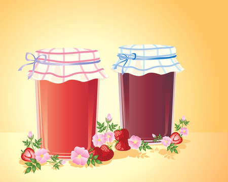an illustration of two jars of home made jam with fancy cloth lids wild roses and strawberries on a golden background Stock Vector - 12489836