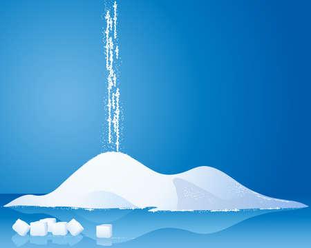 붓는 것: 설탕 큐브 및 파란색 배경에 반사와 흰 설탕의 더미의 그림