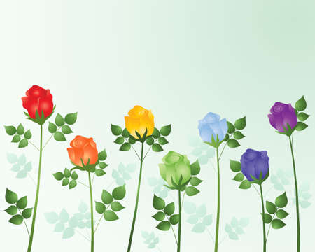 an illustration of a row of roses in rainbow colors with green foliage on a pale mint background Stock Vector - 12489838