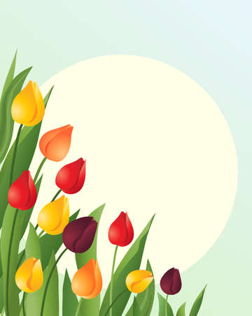 an illustration of red orange and yellow springtime tulips with green foliage on a blue green background with a big yellow sun