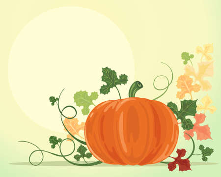 an illustration of an autumn pumpkin with vines tendrils and colorful leaves on a green yellow background Stock Vector - 12489844