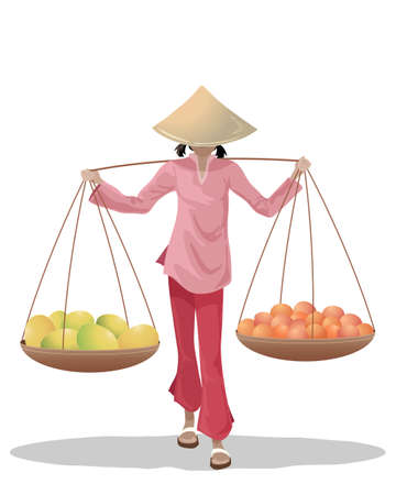 vendors: an illustration of a female asian fruit seller carrying baskets dressed in traditional clothing on a white background
