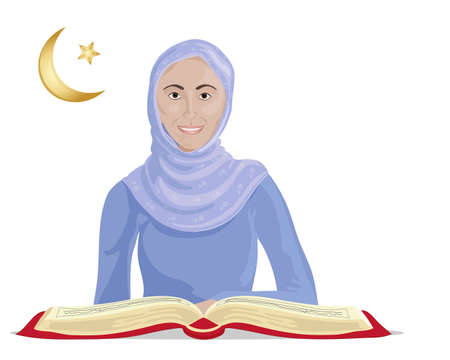 an illustration of a happy muslim woman studying the koran on a white background