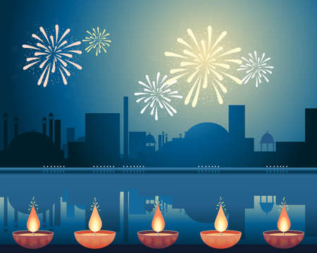an illustration of an asian city lit up with fireworks and candles to celebrate the festival of diwali