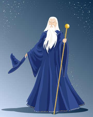 een illustratie van een witte haren tovenaar in een lange blauwe mantel met hoed en een gouden staf onder de sterrenhemel Vector Illustratie