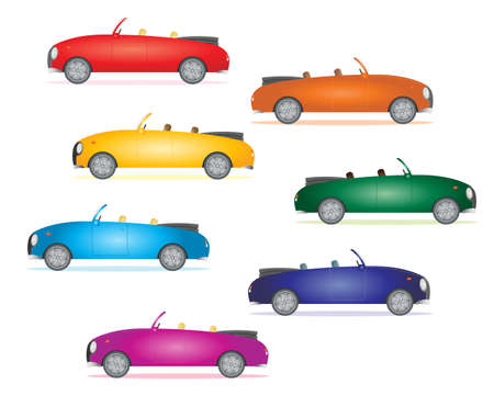bodywork: an illustration of sports cars in rainbow colors on a white background
