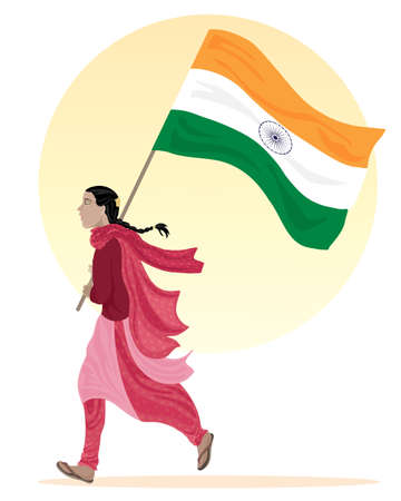 an illustration of a young asian woman running along with a flag of india dressed in traditional clothing on a white background with a big yellow sun