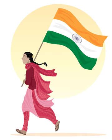 donna che corre: l'illustrazione di una giovane donna asiatica che corre lungo con una bandiera dell'India vestita in abiti tradizionali su uno sfondo bianco con un grande sole giallo Vettoriali